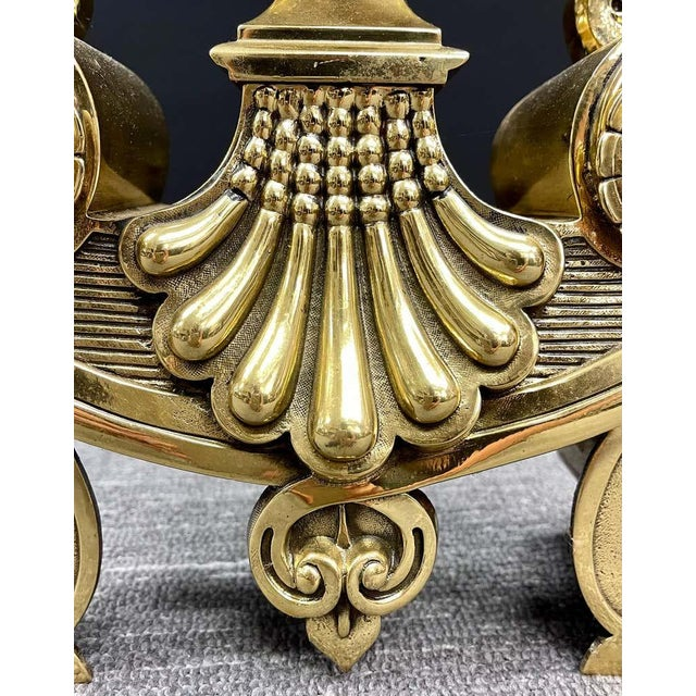 Vintage Polished Bronze Andirons - a Pair For Sale - Image 10 of 11