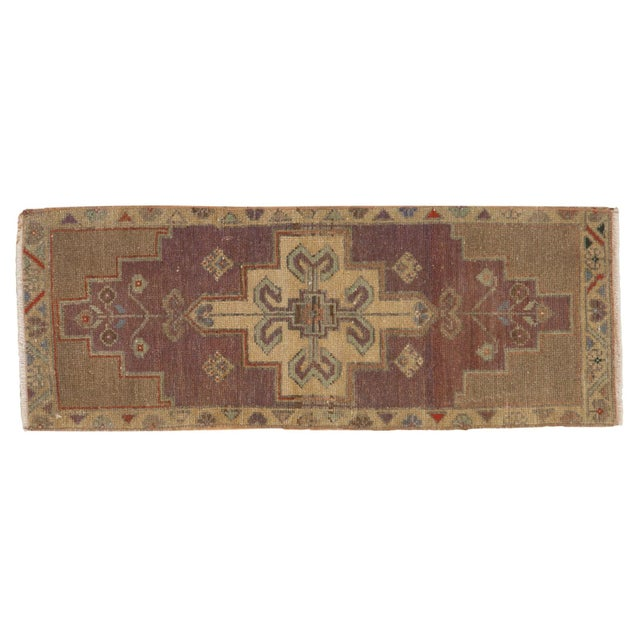 "Vintage Distressed Oushak Rug Mat Runner - 1'2"" X 3'1"" For Sale In New York - Image 6 of 7"