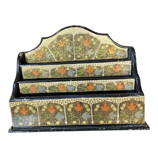 Vintage Indian Hand Painted Stationary Desk Organizer For Sale