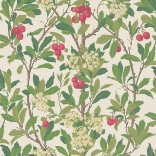 Cole & Son Strawberry Tree Classic Botanical Style Wallpaper Sample For Sale
