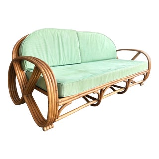 Vintage Round Pretzel Rattan Sofa For Sale