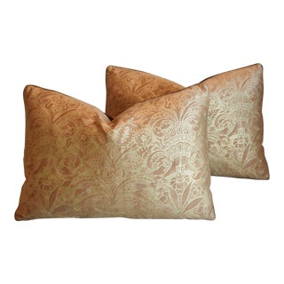 "Italian Mariano Fortuny Campanelle Feather/Down Pillows 22' X 16"" - Pair For Sale"