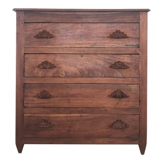 1900s Antique Walnut Farmhouse Chest of Drawers For Sale
