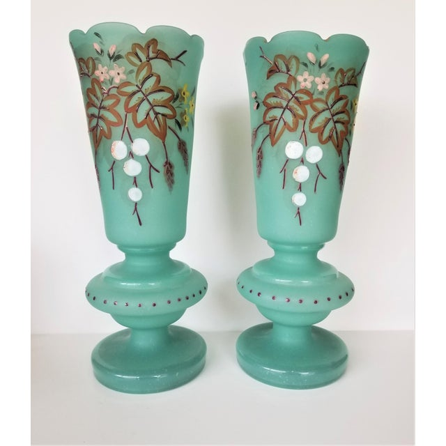 Victorian Hand Painted Blue Green Bristol Frosted Glass Vases - a Pair For Sale - Image 13 of 13