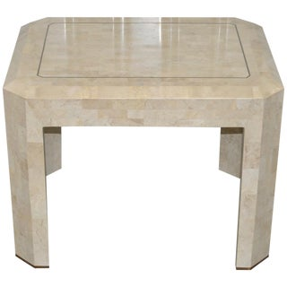 Maitland Smith Marble & Brass Inlay Side Table