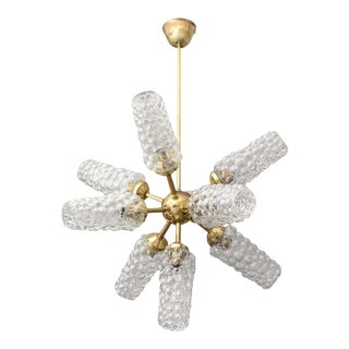 """Sputnik"" Chandelier With Bubble Glass and Brass 1960s For Sale"