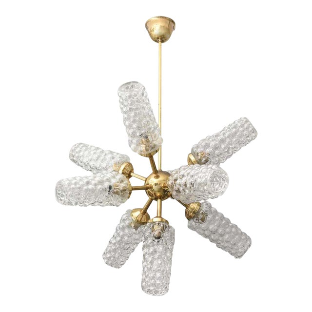 """""""Sputnik"""" Chandelier With Bubble Glass and Brass 1960s For Sale"""