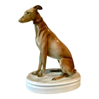Vintage Zsolnay Whippet/Greyhound Porcelain Figurine For Sale