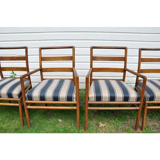Gorgeous set of ladder back chairs by Robsjohn Gibbings for Widdicomb, 1950s. Two arm chairs and four side chairs. Good...