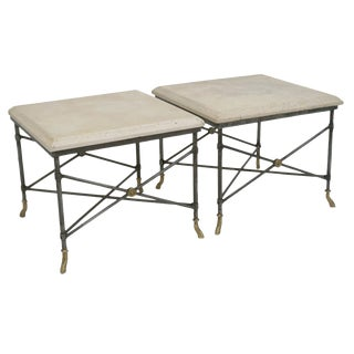 Pair of Midcentury Square Metal Side Tables With Limestone Tops For Sale