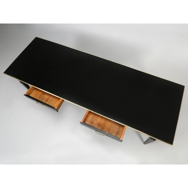 Antique French Black Leather Top Desk For Sale In Chicago - Image 6 of 12