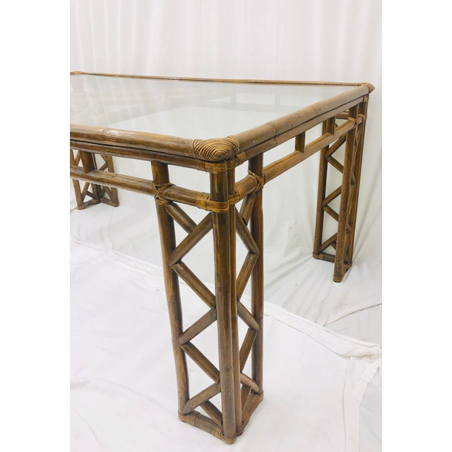 Boho Chic Vintage Chinese Chippendale Rattan & Glass Top Table For Sale - Image 3 of 10