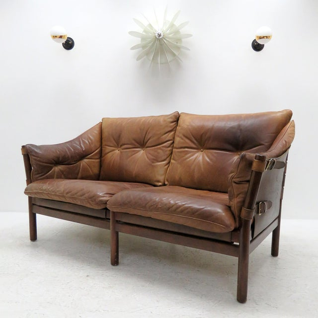 Arne Norell 1960's Vintage 'Ilona' by Arne Norell Leather Settee For Sale - Image 4 of 13