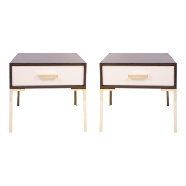 Astor Nightstands in Contrasting Ebony & Ivory by Montage - Pair - Image 1 of 11