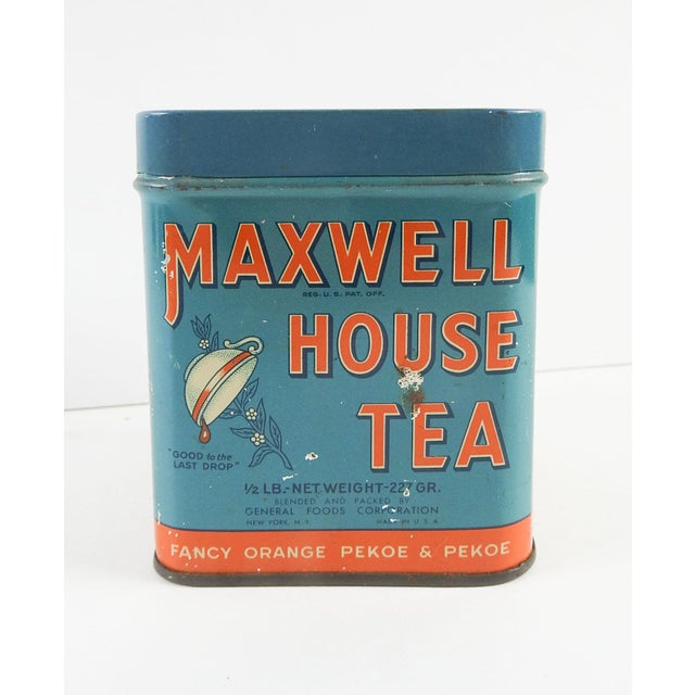Maxwell House Orange Pekoe tea tin circa 1950's. Great blue and orange color and graphics with cup and blossoms, recipes,...
