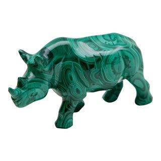 Malachite Rhinoceros Carving For Sale