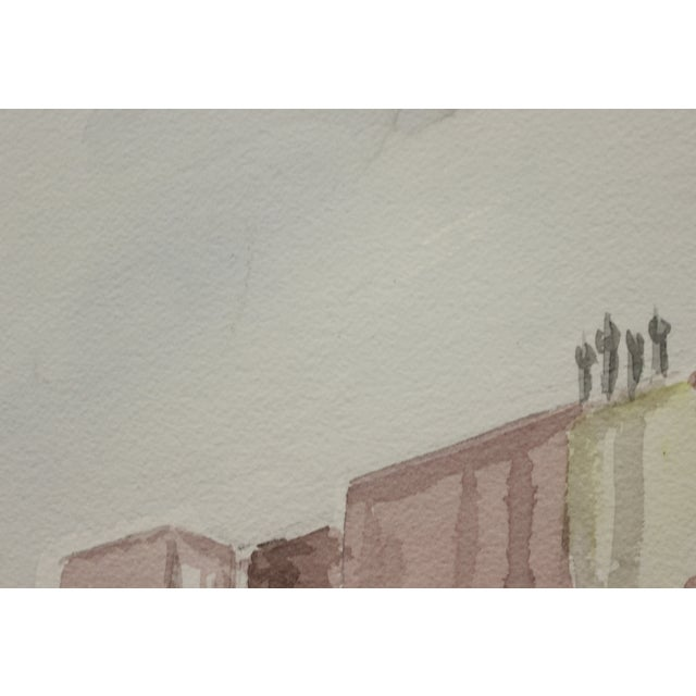 Gated Courtyard Watercolor For Sale - Image 5 of 7