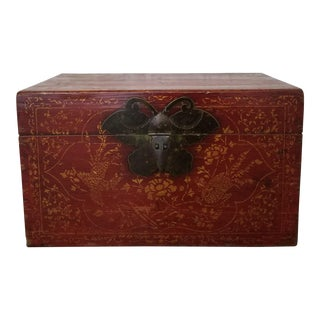Antique Chinese Red Lacquer Gilt Wooden Wedding Trunk For Sale