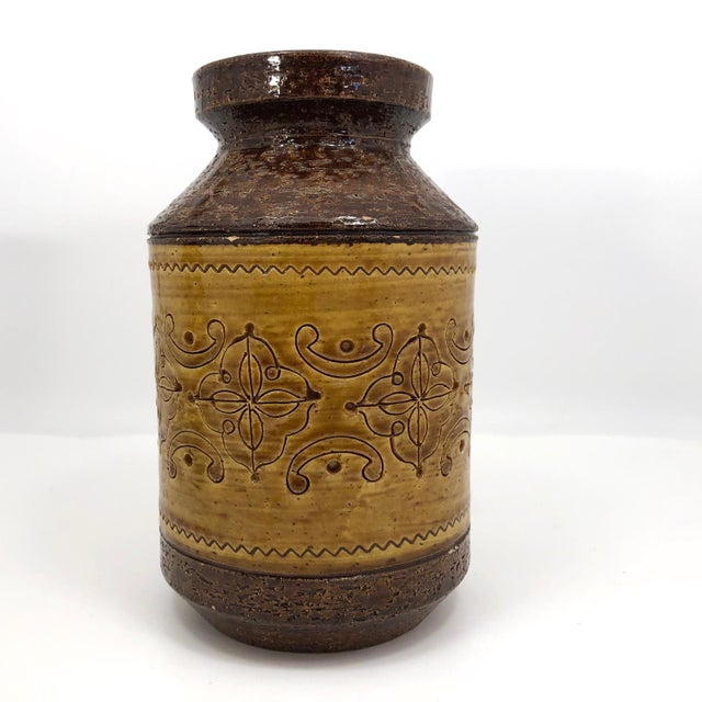 """This is a fantastic Aldo Londi for Bitossi """"Spagnolo"""" vase, vintage 1960s. The vase features a wonderfully earthy,..."""