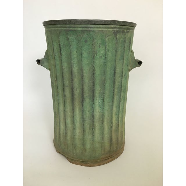 Green Trash Can With Patina For Sale - Image 4 of 5