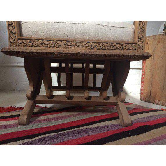 Antique Carved Wooden Elephant Saddle Chair With Hand Woven Textile Cushion For Sale - Image 9 of 11