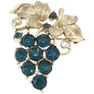 "20th Century Silver & Blue Sapphire Crystal ""Grape Bunch"" Brooch By, Lisner For Sale"