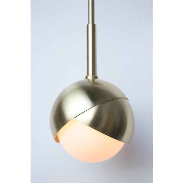 Contemporary Benedict Wall Sconce in Satin Brass Finish With White Opal Glass For Sale - Image 3 of 4