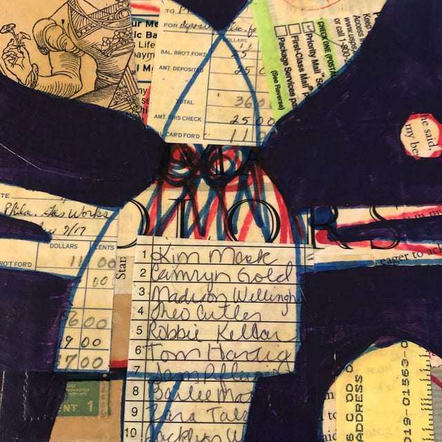 Original drawing & painting on collaged vintage papers wrapped around book cover 7 x 10.5 Unframed