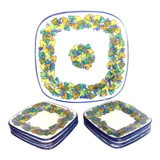 Italian Pottery Platter & 8 Plates - Set of 9 (2 Sets Available) For Sale