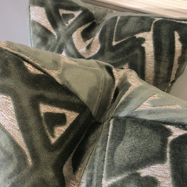 """Abstract Sage Green Graffiti Cut Velvet 22"""" Pillows-A Pair For Sale - Image 3 of 7"""