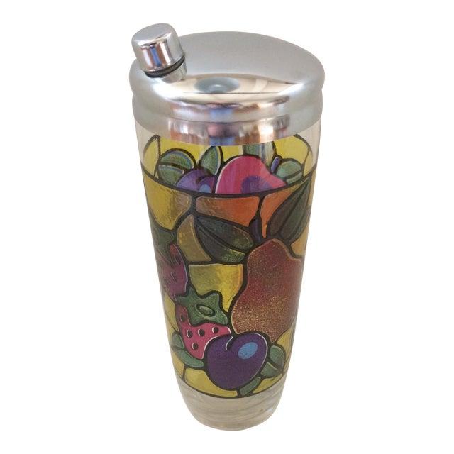 Vintage Mosaic 24 Oz. Fruit Pattern Cocktail Shaker For Sale