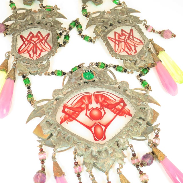 Massive Czech Art Deco Egyptian Revival Painted Glass & Crystal Necklace 1920s For Sale - Image 10 of 12