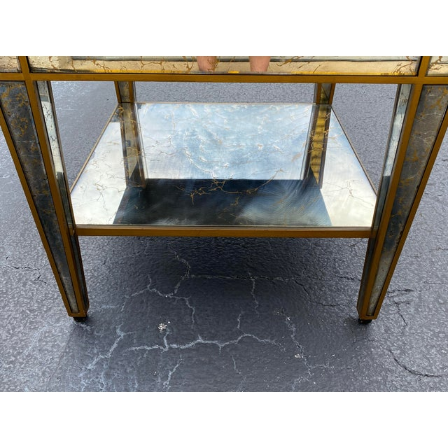 Metal Hollywood Regency Mirrored End Table For Sale - Image 7 of 10