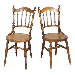 Swedish Antique Wood Chairs - a Pair For Sale