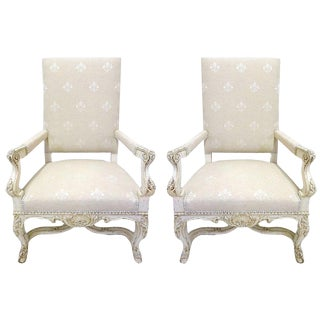19th Century French Louis XV Carved Painted Armchairs With Fleur-De-Lys Fabric - a Pair For Sale