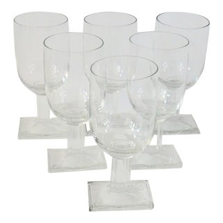 Set of Six Fluted Base Art Deco Wine or Water Glasses For Sale