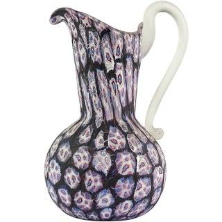 Fratelli Toso Murano Black Millefiori Flower Mosaic Italian Art Glass Pitcher Vase For Sale