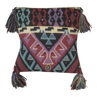Vintage Boho Southwestern Tribal Needlepoint Yarn Pillow With Tassels