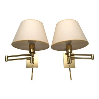 Hansen Lamp Metalarte Double Swing Arm Brass Sconces - a Pair For Sale