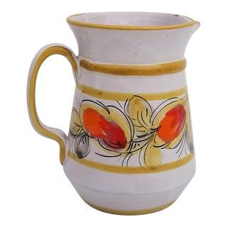 1970s Vintage Italian Art Pottery Pitcher For Sale