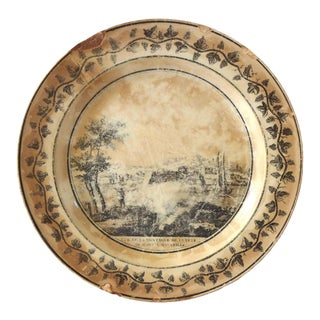 Early 19th Century French Creamware Transferware Plate For Sale