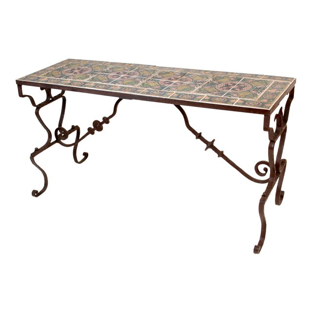 Spanish Tile Top Wrought Iron Patio Table For Sale