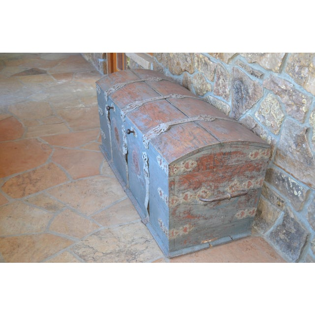 Mid-Century Modern Antique Swedish Immigrant Trunk For Sale - Image 3 of 4