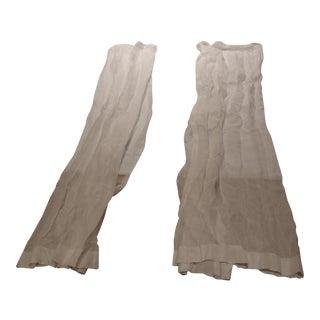 Restoration Hw White Sheer Linen Drapes - a Pair For Sale