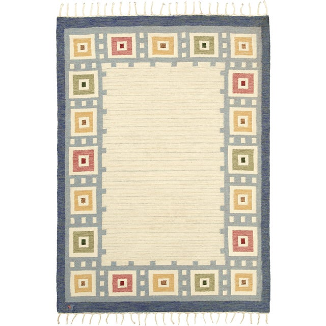 "Mid 20th Century Swedish Flat Weave Rug - 5'7"" X 8'0"" For Sale - Image 5 of 5"