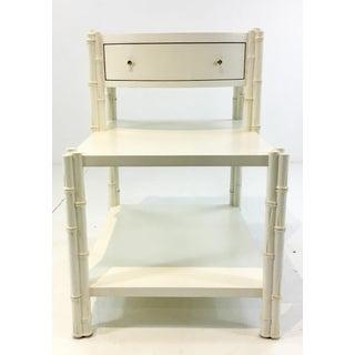 Celerie Kemble for Henredon Modern Bamboo White Wood Side Tables Pair Preview