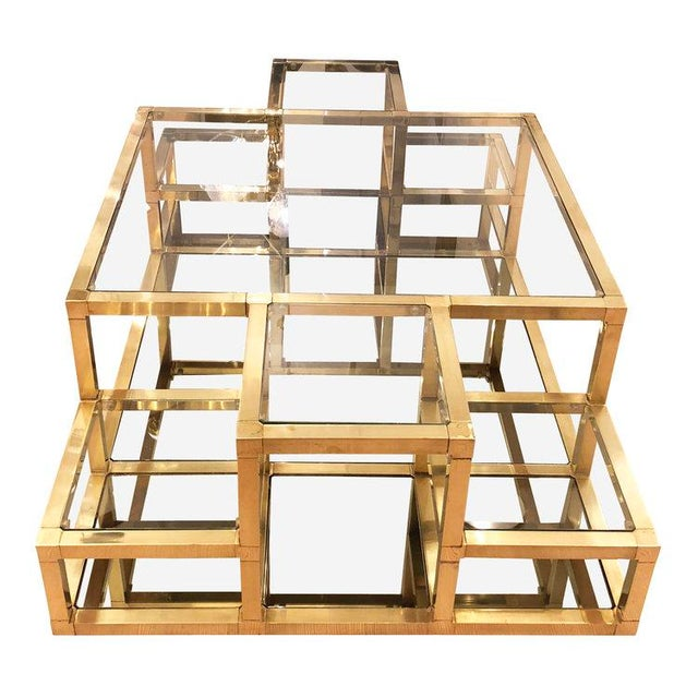 1960s Italian Multi-Level Brass Coffee Table For Sale In New York - Image 6 of 10