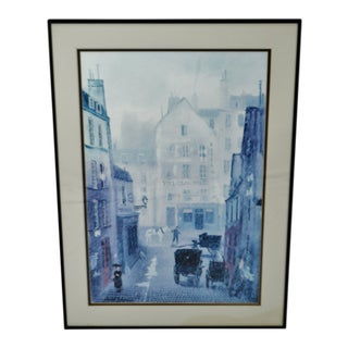 Vintage Framed Paris Street Scene Lithograph by Michel Delacroix For Sale