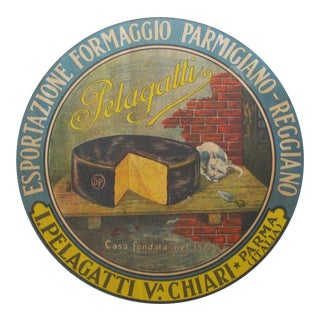 1930s Vintage Italian Parmesan Cheese Label, Pelagatti cat (framed) For Sale