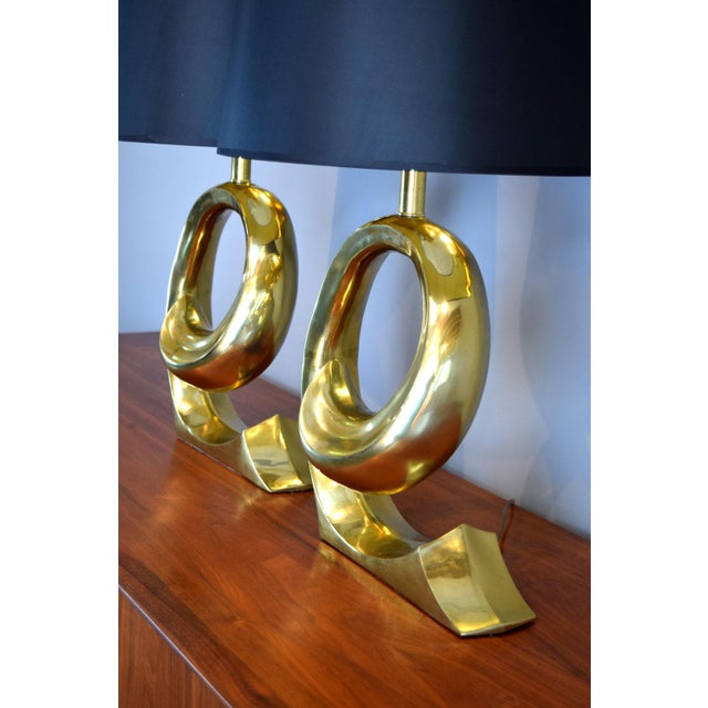 Erwin-Lambeth Solid Brass Swoosh 'Pierre Cardin' Lamps by Erwin Lambeth - a Pair For Sale - Image 4 of 12